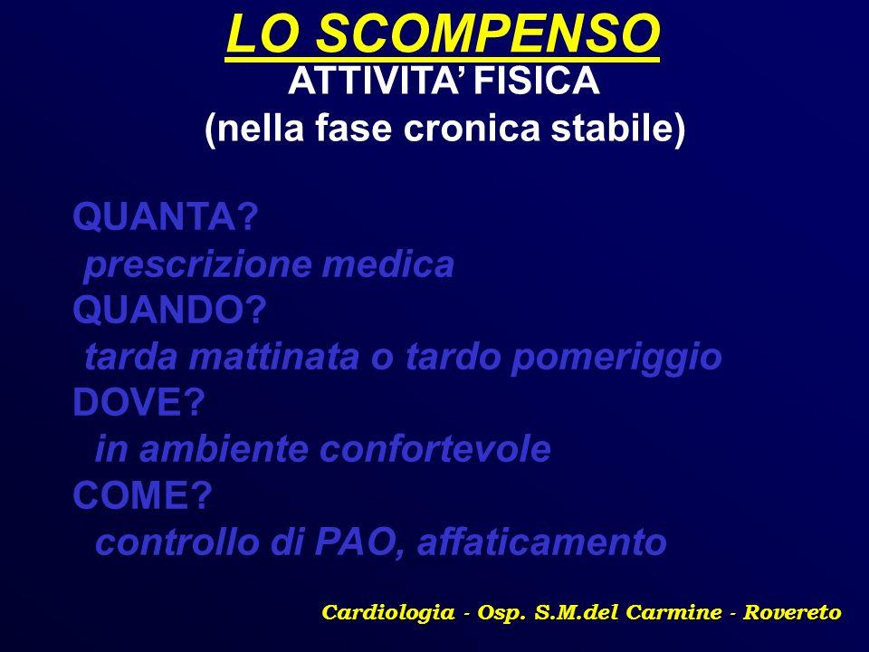 LO SCOMPENSO ATTIVITA' FISICA (nella fase cronica stabile) QUANTA