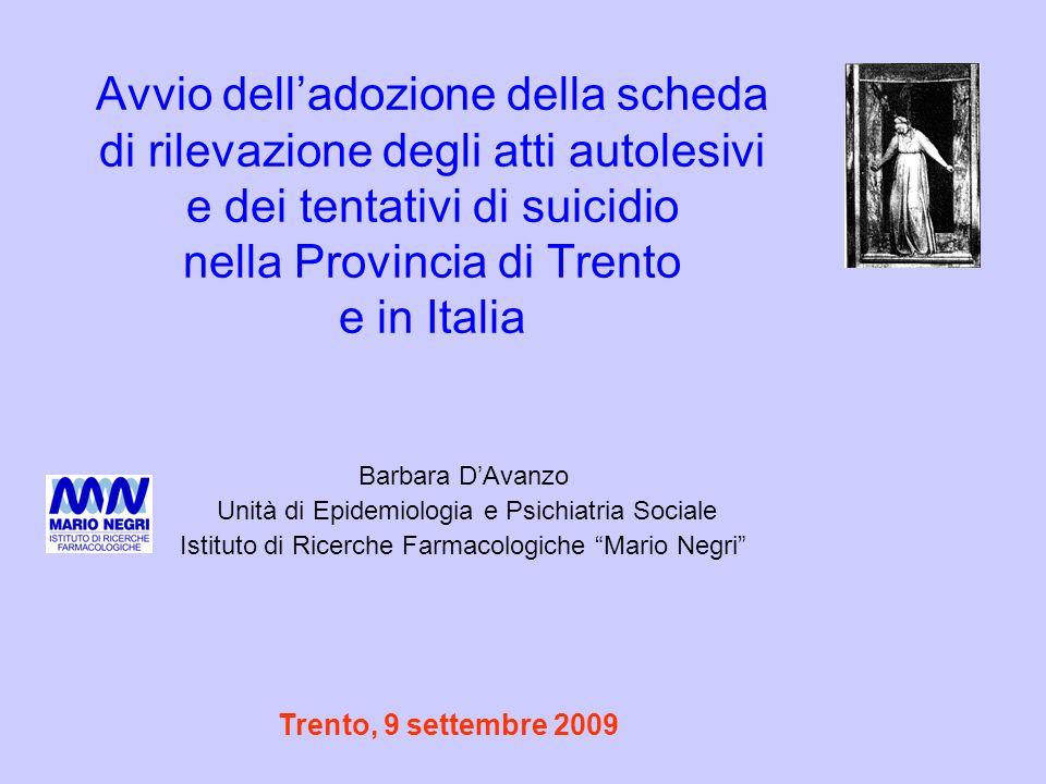 Avvio dell'adozione della scheda di rilevazione degli atti autolesivi e dei tentativi di suicidio nella Provincia di Trento e in Italia