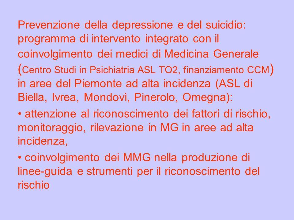 Prevenzione della depressione e del suicidio: programma di intervento integrato con il coinvolgimento dei medici di Medicina Generale (Centro Studi in Psichiatria ASL TO2, finanziamento CCM) in aree del Piemonte ad alta incidenza (ASL di Biella, Ivrea, Mondovì, Pinerolo, Omegna):