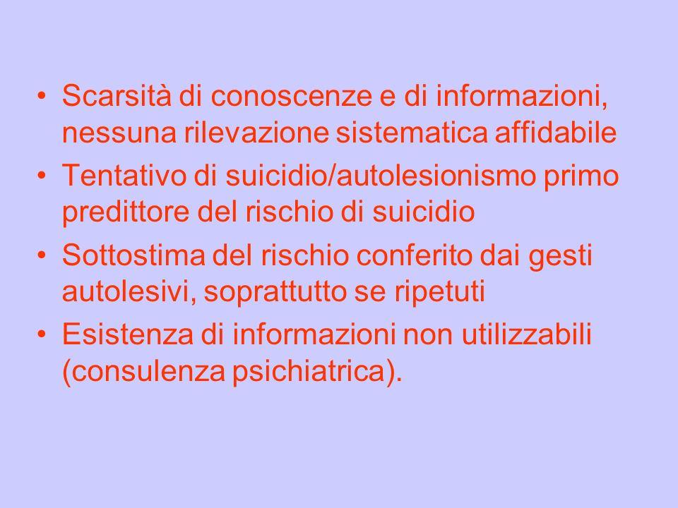 Scarsità di conoscenze e di informazioni, nessuna rilevazione sistematica affidabile