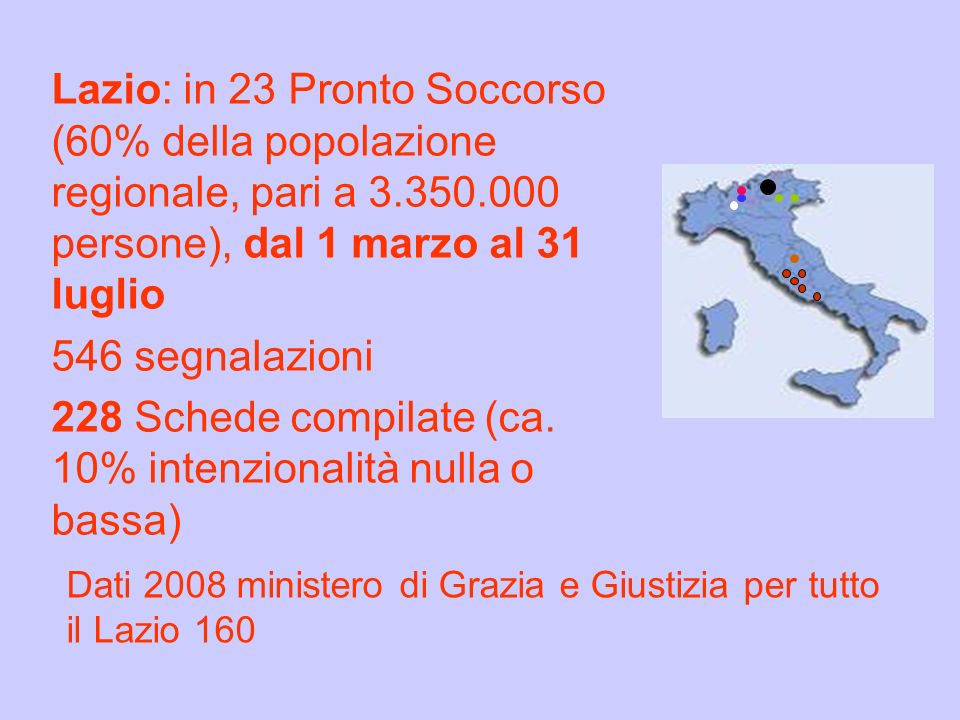 Lazio: in 23 Pronto Soccorso (60% della popolazione regionale, pari a 3.350.000 persone), dal 1 marzo al 31 luglio 546 segnalazioni 228 Schede compilate (ca. 10% intenzionalità nulla o bassa)
