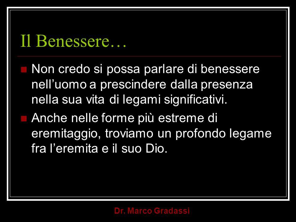 Il Benessere… Non credo si possa parlare di benessere nell'uomo a prescindere dalla presenza nella sua vita di legami significativi.