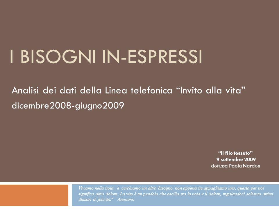 I bisogni in-espressi Analisi dei dati della Linea telefonica Invito alla vita dicembre2008-giugno2009.