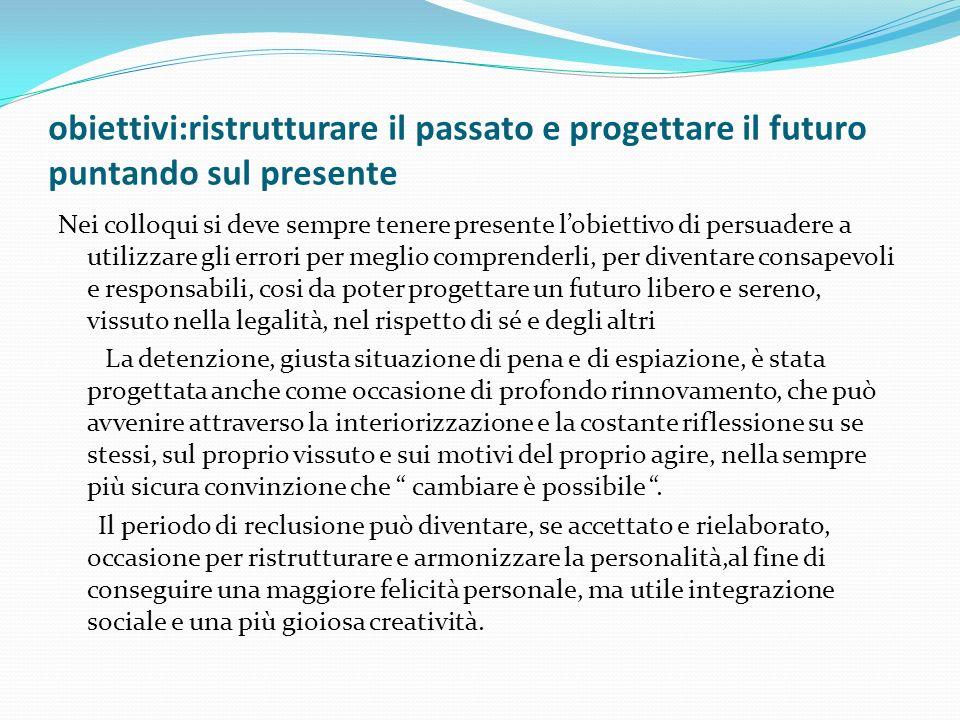 obiettivi:ristrutturare il passato e progettare il futuro puntando sul presente