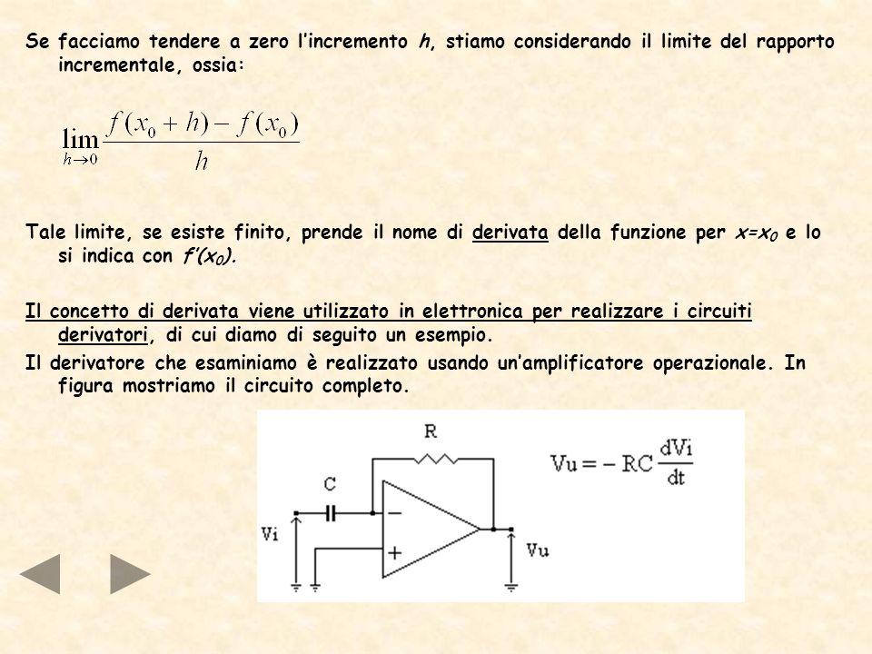 Se facciamo tendere a zero l'incremento h, stiamo considerando il limite del rapporto incrementale, ossia: