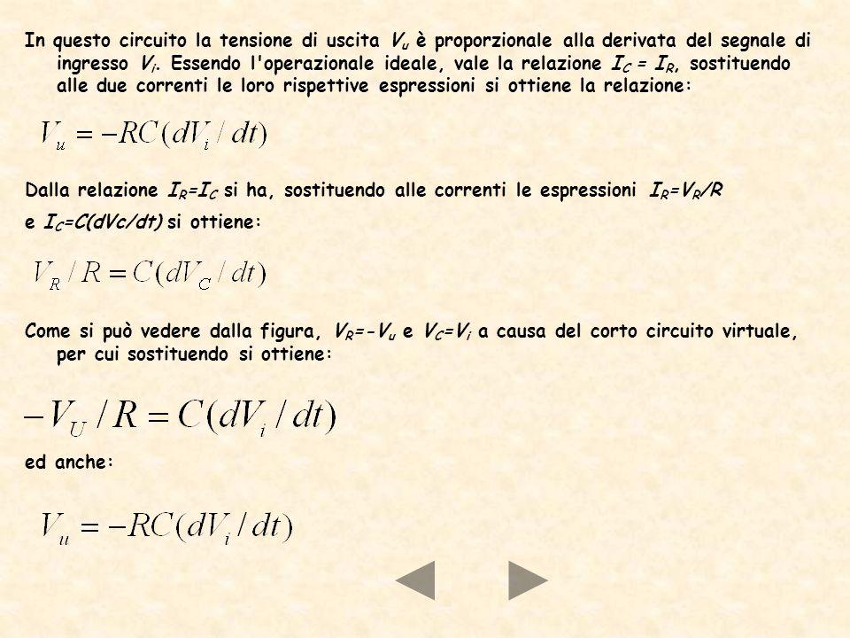 In questo circuito la tensione di uscita Vu è proporzionale alla derivata del segnale di ingresso Vi. Essendo l operazionale ideale, vale la relazione IC = IR, sostituendo alle due correnti le loro rispettive espressioni si ottiene la relazione: