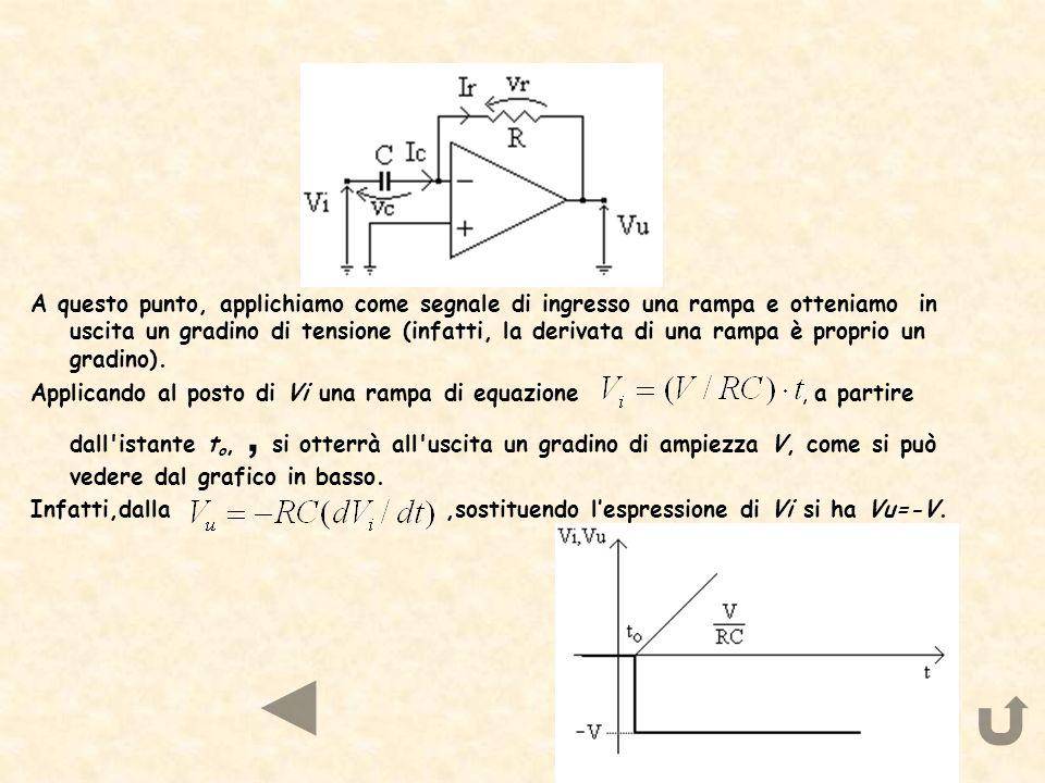 A questo punto, applichiamo come segnale di ingresso una rampa e otteniamo in uscita un gradino di tensione (infatti, la derivata di una rampa è proprio un gradino).