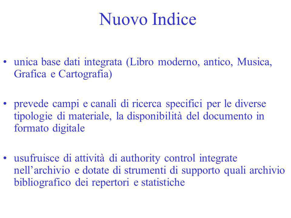 Nuovo Indice unica base dati integrata (Libro moderno, antico, Musica, Grafica e Cartografia)
