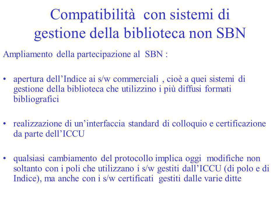 Compatibilità con sistemi di gestione della biblioteca non SBN