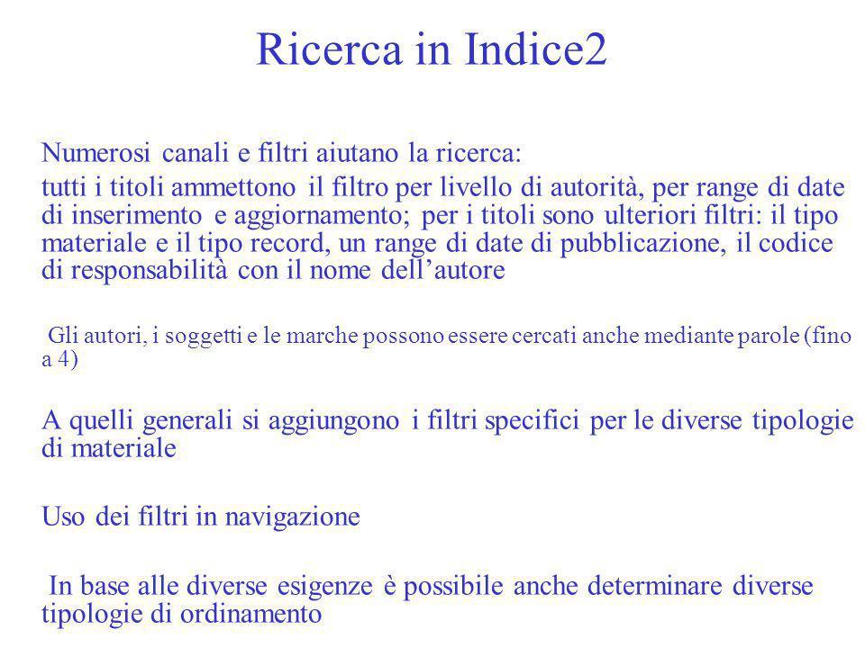 Ricerca in Indice2 Numerosi canali e filtri aiutano la ricerca: