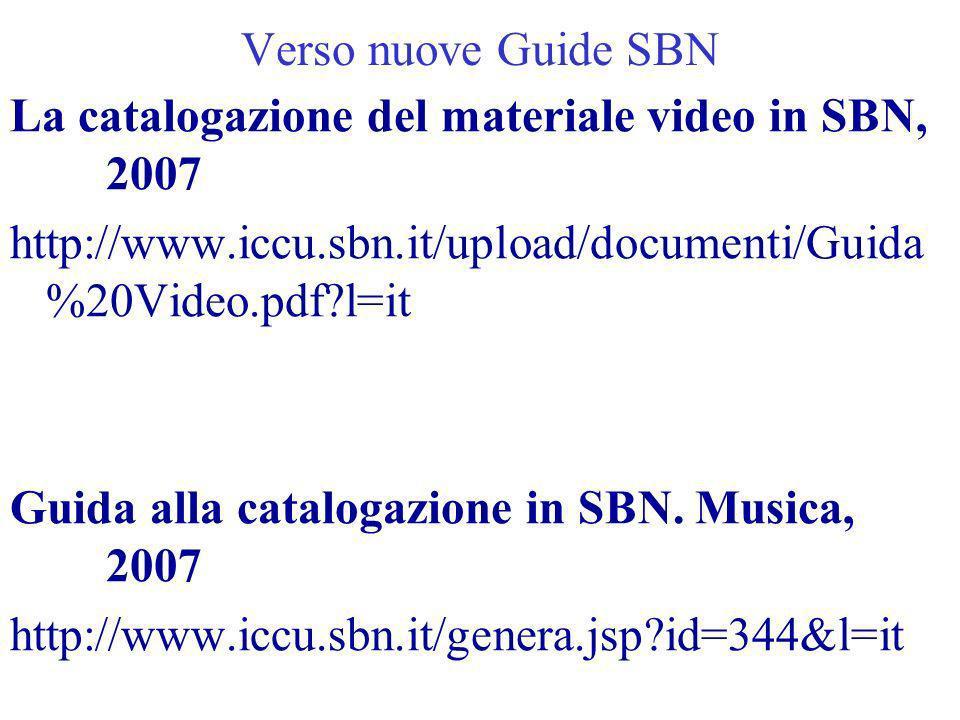 Verso nuove Guide SBN La catalogazione del materiale video in SBN, 2007. http://www.iccu.sbn.it/upload/documenti/Guida%20Video.pdf l=it.