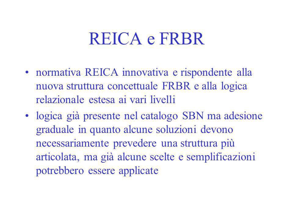 REICA e FRBR normativa REICA innovativa e rispondente alla nuova struttura concettuale FRBR e alla logica relazionale estesa ai vari livelli.