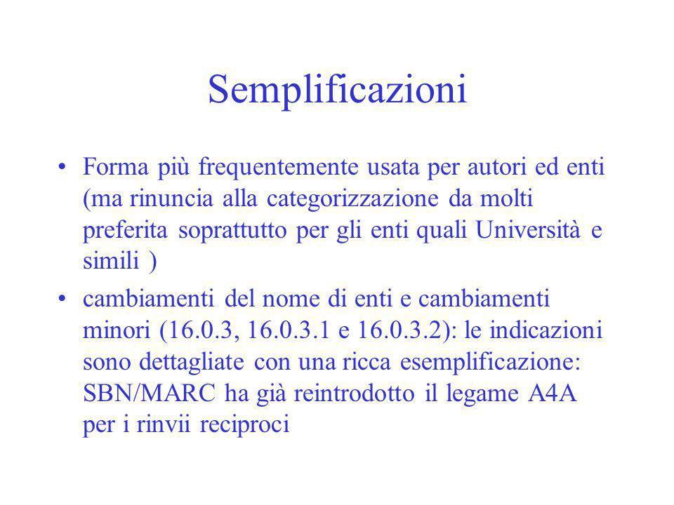 Semplificazioni