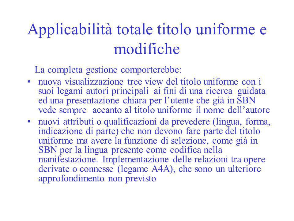 Applicabilità totale titolo uniforme e modifiche