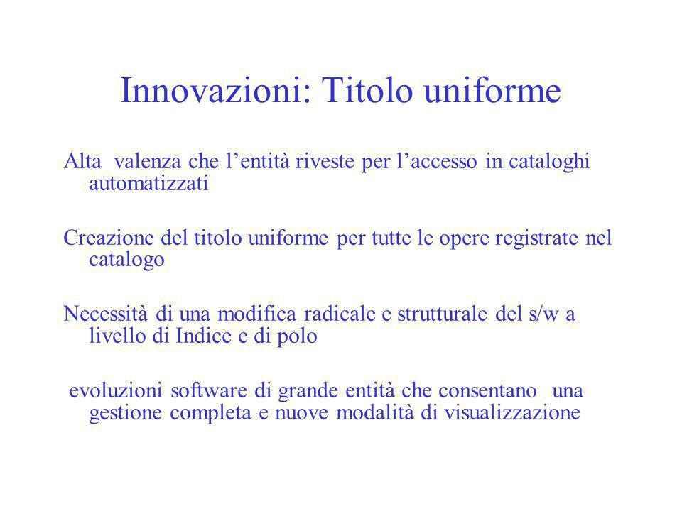 Innovazioni: Titolo uniforme