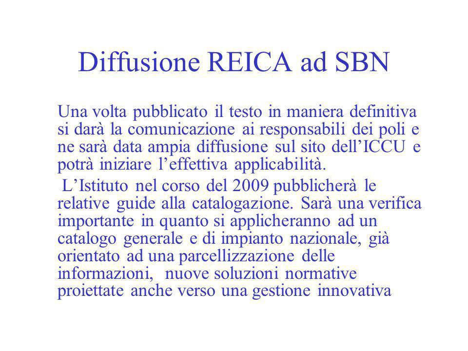 Diffusione REICA ad SBN
