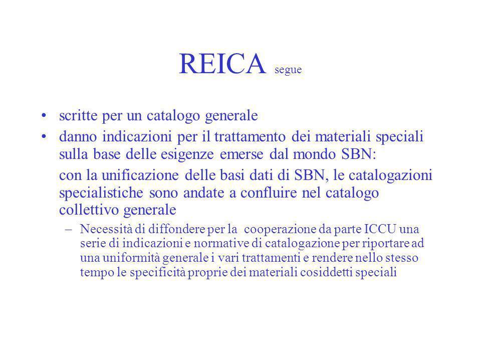 REICA segue scritte per un catalogo generale