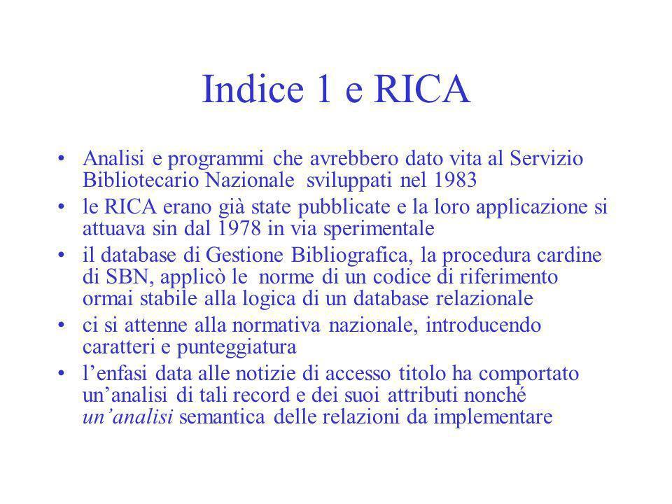 Indice 1 e RICA Analisi e programmi che avrebbero dato vita al Servizio Bibliotecario Nazionale sviluppati nel 1983.