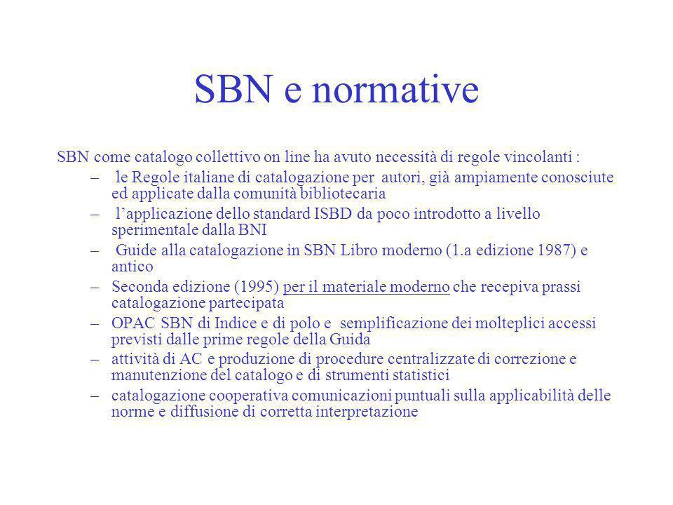 SBN e normative SBN come catalogo collettivo on line ha avuto necessità di regole vincolanti :