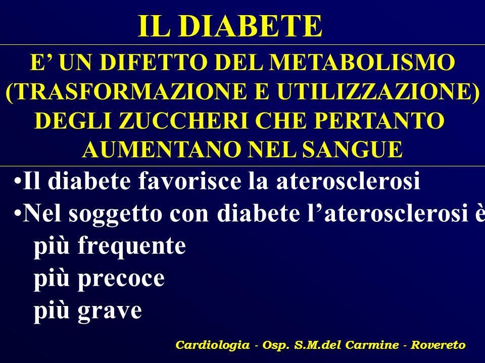 IL DIABETE Il diabete favorisce la aterosclerosi