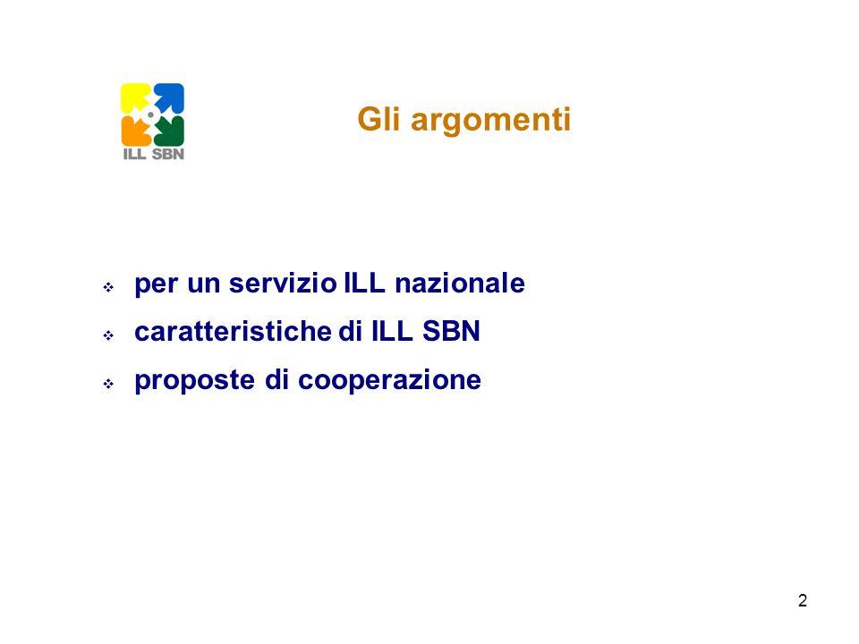 Gli argomenti per un servizio ILL nazionale caratteristiche di ILL SBN