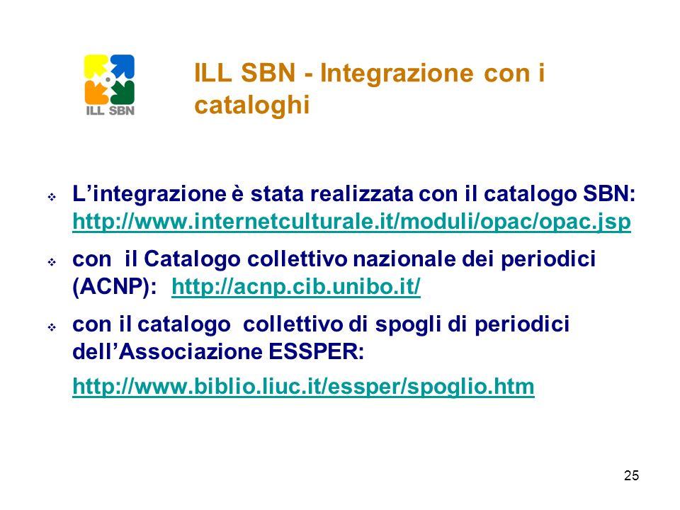 ILL SBN - Integrazione con i cataloghi