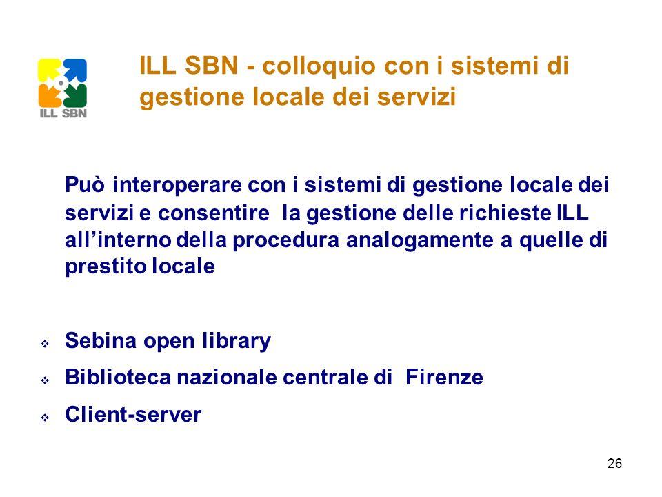 ILL SBN - colloquio con i sistemi di gestione locale dei servizi