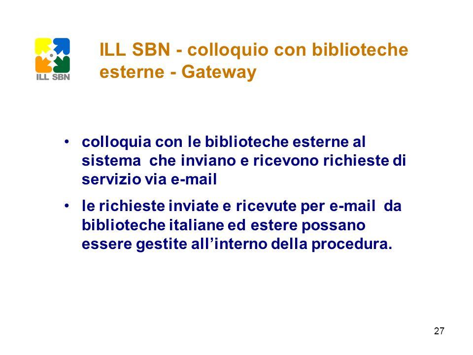 ILL SBN - colloquio con biblioteche esterne - Gateway