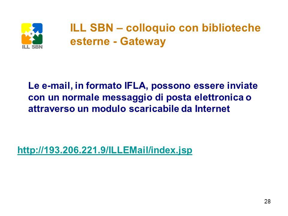 ILL SBN – colloquio con biblioteche esterne - Gateway