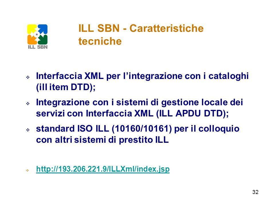 ILL SBN - Caratteristiche tecniche