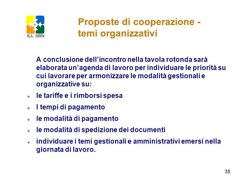 Proposte di cooperazione - temi organizzativi