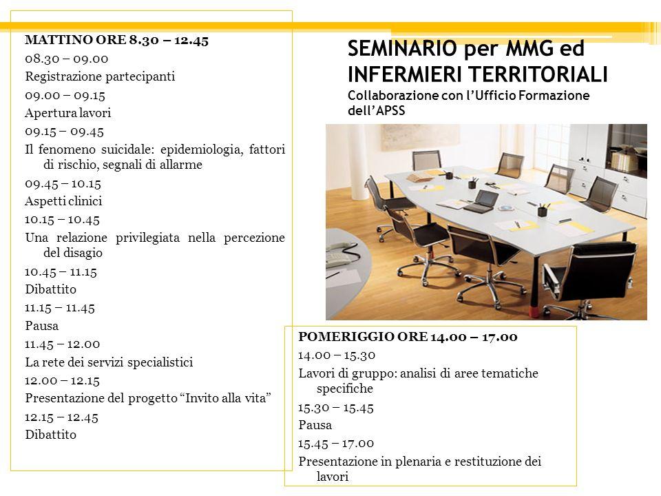 MATTINO ORE 8.30 – 12.45 08.30 – 09.00. Registrazione partecipanti. 09.00 – 09.15. Apertura lavori.