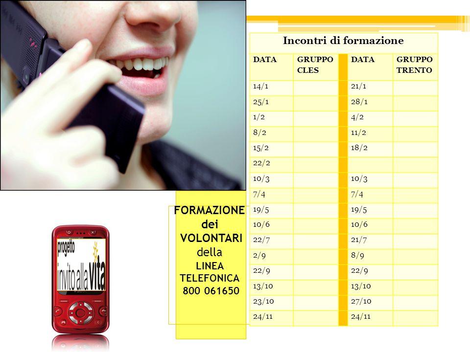 FORMAZIONE dei VOLONTARI della LINEA TELEFONICA 800 061650