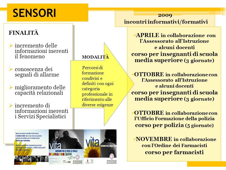 SENSORI 2009. incontri informativi/formativi. FINALITÀ. incremento delle informazioni inerenti il fenomeno.