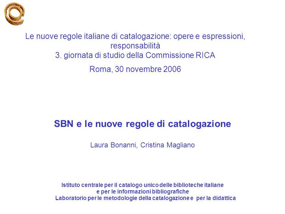 SBN e le nuove regole di catalogazione
