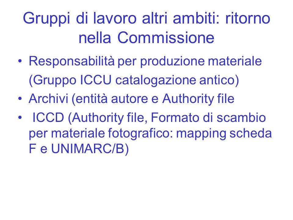 Gruppi di lavoro altri ambiti: ritorno nella Commissione