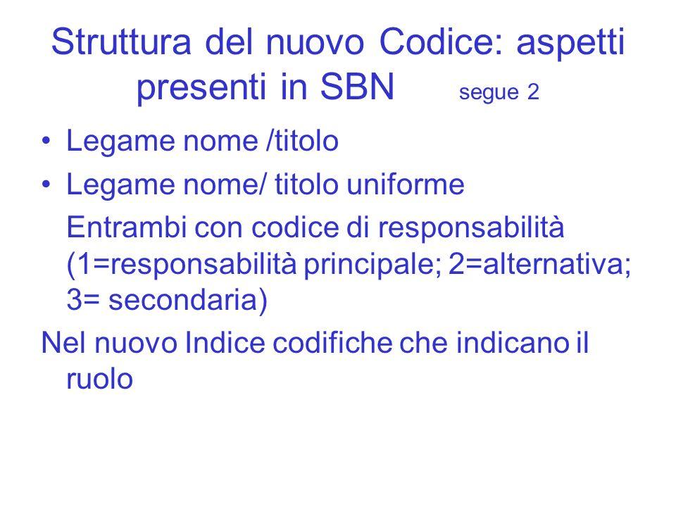 Struttura del nuovo Codice: aspetti presenti in SBN segue 2