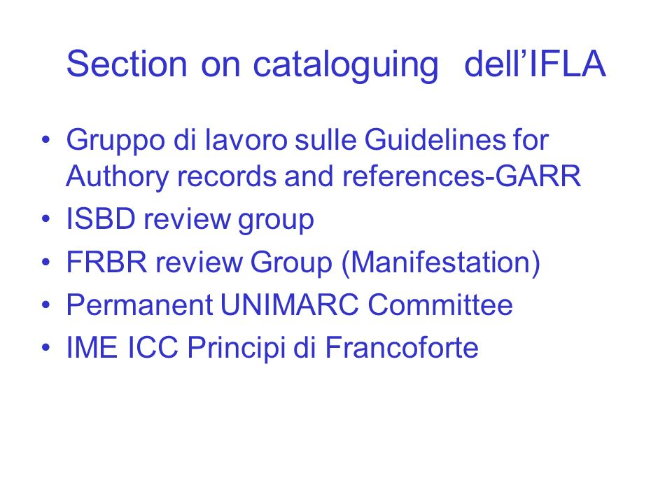Section on cataloguing dell'IFLA