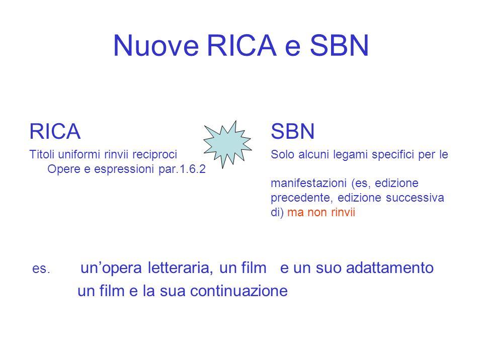 Nuove RICA e SBN RICA SBN un film e la sua continuazione