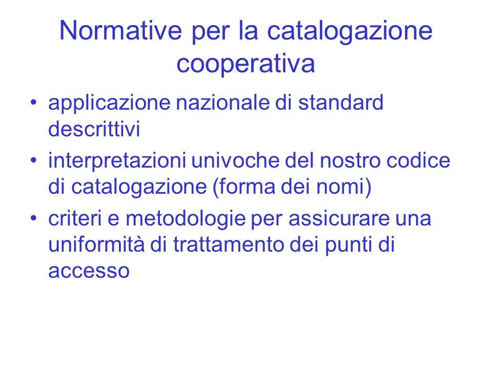Normative per la catalogazione cooperativa