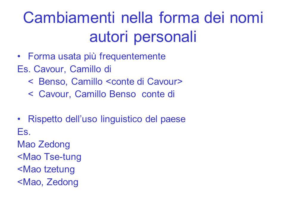 Cambiamenti nella forma dei nomi autori personali