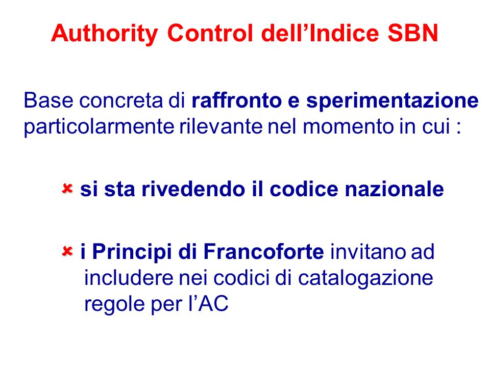 Authority Control dell'Indice SBN