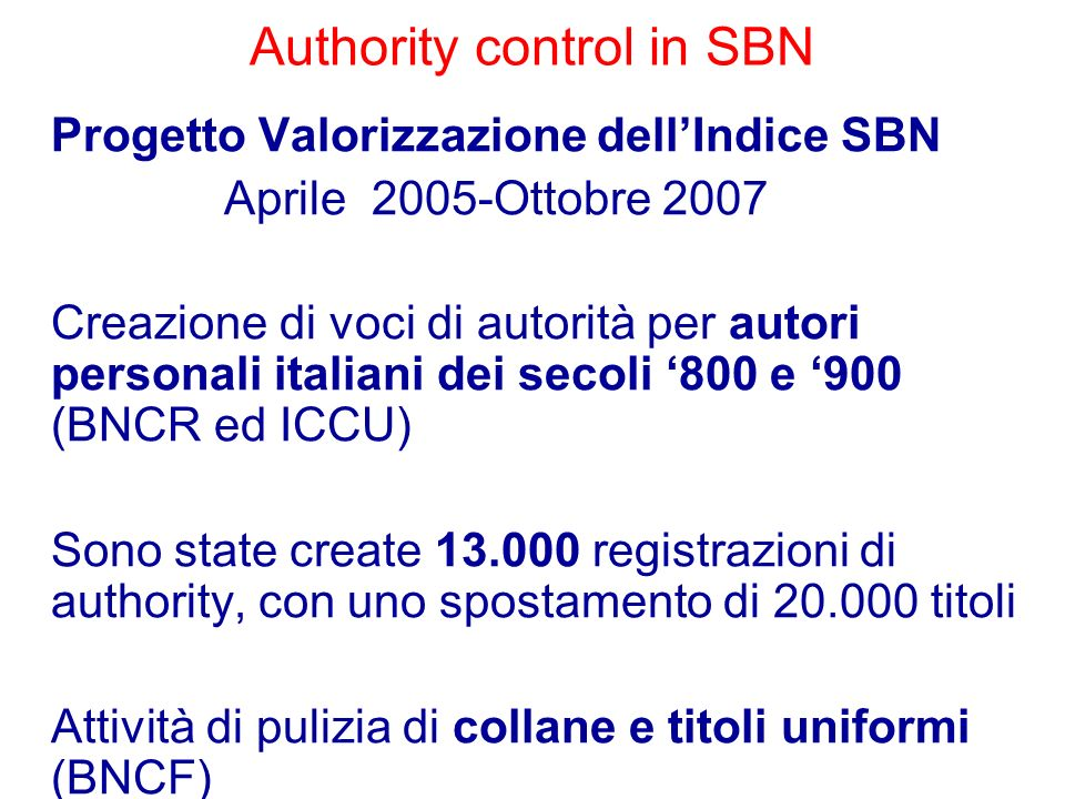 Authority control in SBN