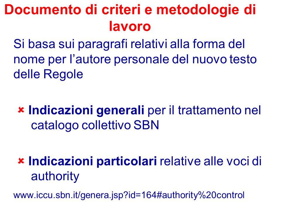 Documento di criteri e metodologie di lavoro