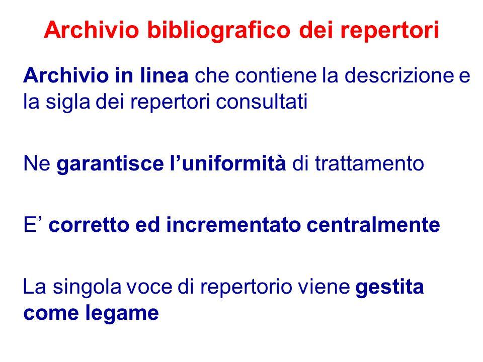 Archivio bibliografico dei repertori