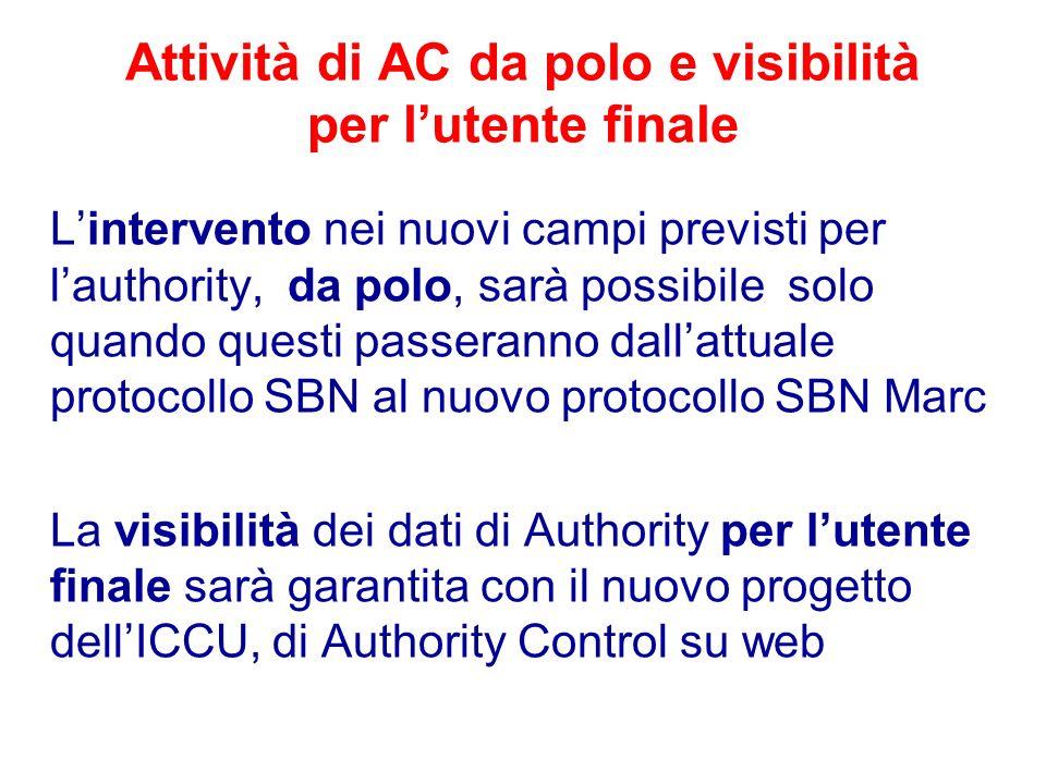 Attività di AC da polo e visibilità per l'utente finale