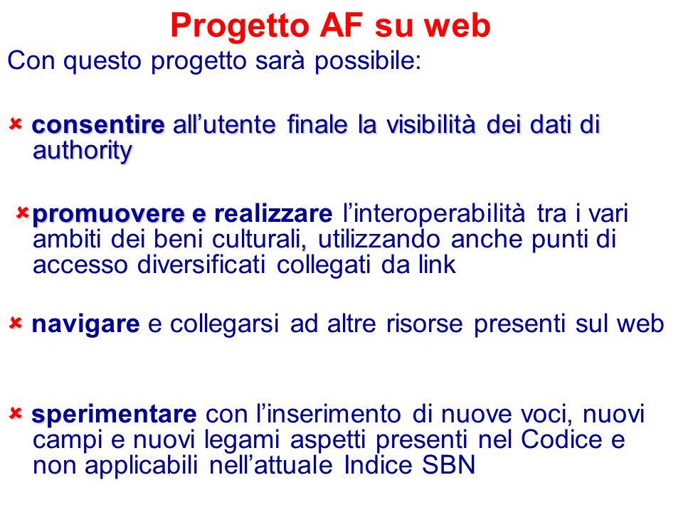 Progetto AF su web Con questo progetto sarà possibile: