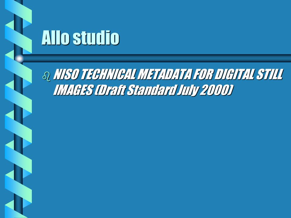 Allo studio NISO TECHNICAL METADATA FOR DIGITAL STILL IMAGES (Draft Standard July 2000)