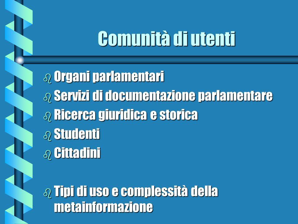 Comunità di utenti Organi parlamentari