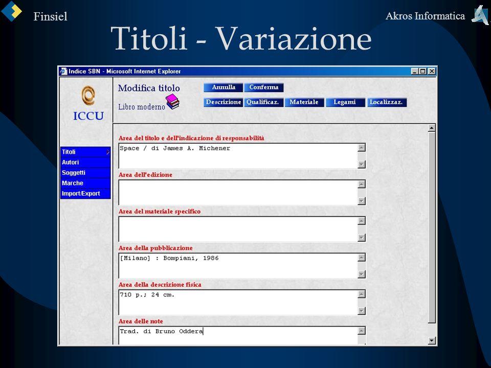 Titoli - Variazione